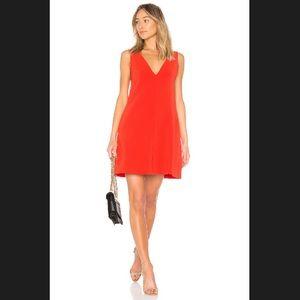 Theory V-Neck Sleeveless Mini Shift Dress Red